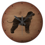 Irish Water Spaniel Silhouette Rustic Large Clock