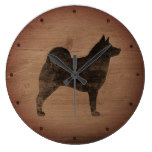 Norwegian Elkhound Silhouette Rustic Large Clock