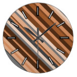 Rustic, Earthy Brown, Beige and Grey Stripes Clock