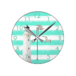 Turquoise white nautical stripes with lighthouse round clock
