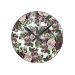 Vintage bohemian burgundy white roses floral round clock