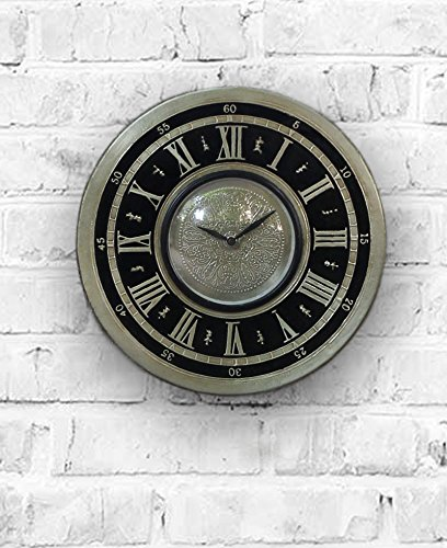 Ornate Meenakari Silver Black Colored Decorative Wall Clock with Roman Numeral Clock Face 12 Inch