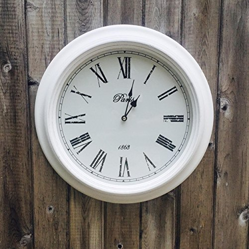 The White Analog Wall Clock, Paris, 1863, Vintage Style, Rustic White, Glass, Distressed MDF Wood Beveled Frame, Roman Numerals, 15 3/8″, 1 AA Battery (Not Included), By Whole House Worlds