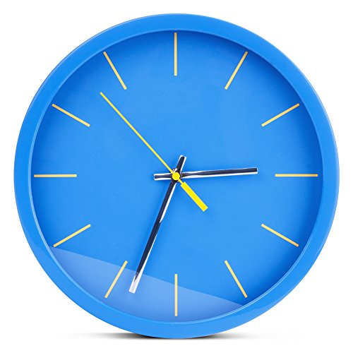 Egundo Wall Clock 12-inch Non-Ticking Round Plastic No Numbers Simple Design Clocks Ocean Colors Blue Modern Home Decoration Wall Art for Kitchen Office and Bedrooms