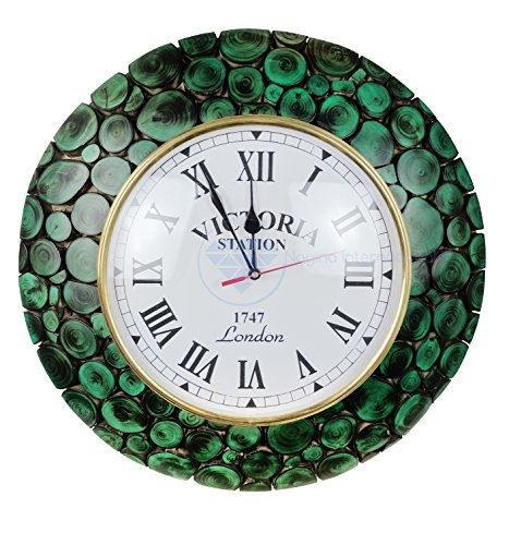 Large Algae Green Sliced Logs Premium Wood Crafted Decorative Yet Functional Wall Clock With Matte Velvet Finish | Exclusive Wall Gifts Decor | Nagina International