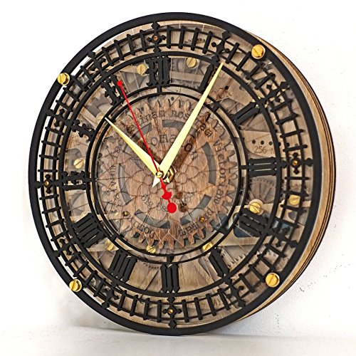 Big Ben Automaton 1854 Unique Vintage large wooden wall Clock, housewarming, one-of-a-kind, victorian home decor gift