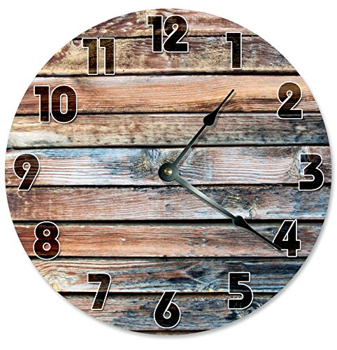 Large 10.5″ Wall Clock Decorative Round Wall Clock Home Decor Novelty Clock OLD BARN WOOD