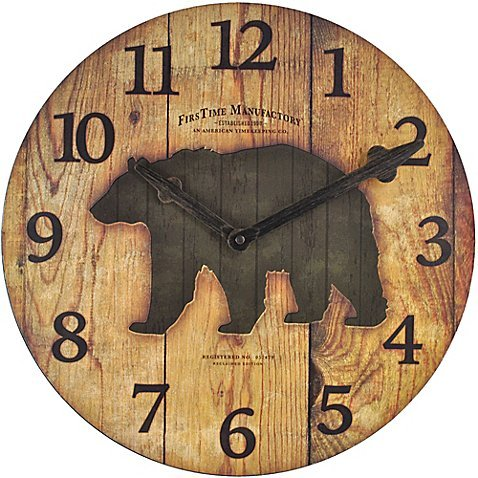 Wall Clock Wood Design With The Silhouette Of A Bear In The Center in Brown