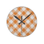 Apricot Orange Country Cottage Gingham Stripes Round Clock