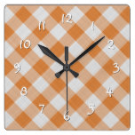 Apricot Orange Country Cottage Gingham Stripes Square Wall Clock