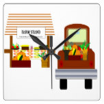 Autumn Harvest Square Wall Clock