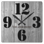 Barn Wood Effect Rustic Family Name Square Wall Clock