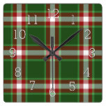 Green Red White Cool Red Lumberjack Plaid Pattern Square Wall Clock