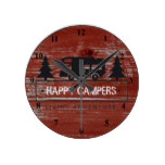 Happy Campers | Red Rustic Barn Wood RV Camping Round Clock