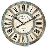 16-in Vintage Roman Numeral Design Wood Clock – Eruner France Paris *Caf? De La Gare* Colourful French Paris Tuscan Style Non-Ticking Quartz Movement Wooden Wall Clock Cafe Bar(16″, #03)