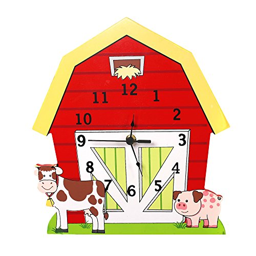 Fantasy Fields – Happy Farm Animals Thematic Kids Wall Clock Best for Nursery Room Decor | Imagination Inspiring  Hand Painted Details | Non-Toxic, Lead Free Water-based Paint