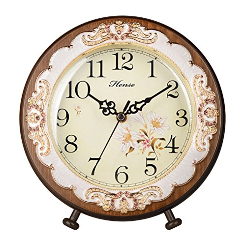 HENSE Antique Roman Numerals Analog Clock Soild Wood Concise Non Ticking Mute Quartz Desk Clock (HD10-Brown upgrade version)