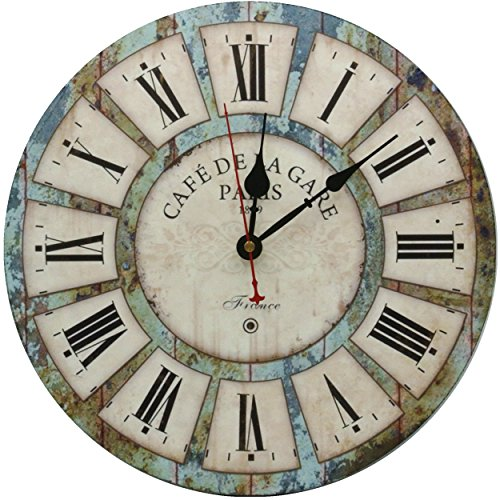RELIAN Decorative Wall Clock 12-Inch Vintage Rustic Silent Non Ticking Wood Round for Living Room Bathroom Kitchen Bedroom Decor