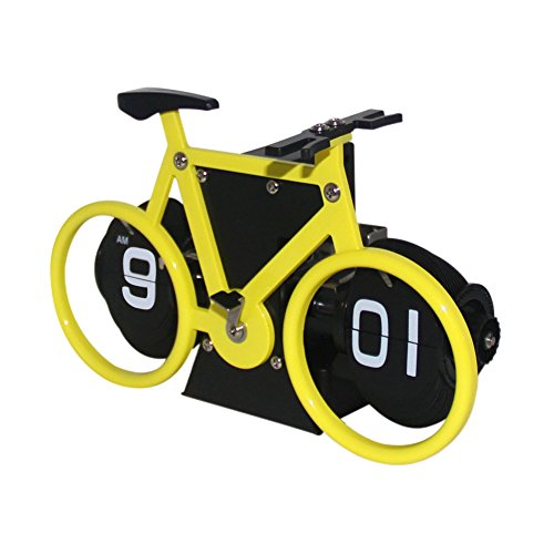Creative Clock,KABB Modern Stylish Bicycle Shaped Retro Flip Down Alarm Clock with Dual Internal Gears Operated for Office Bedroom Home Decoration (Yellow)
