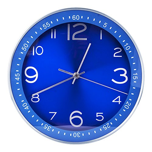 Egundo Silent Blue Analog Wall Clocks Decorative 12 Inches Large Non-ticking Indoor Modern Home Decor Metal Clock Battery Operated for Kitchen Bedrooms Office