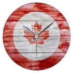 Bullseye Circle Rustic Red Canadian Maple Leaf Large Clock
