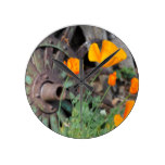California Poppies Round Clock