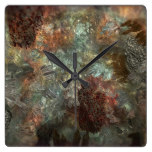 Earthy Crystals Square Wall Clock