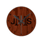 Elegant Personalized Monogram | Mahogany Wood Look Round Clock