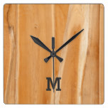 Monogram Series: Natural Light Wooden Panel. Square Wall Clock