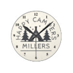 Personalized Happy Campers | Rustic Tent Camping Round Clock