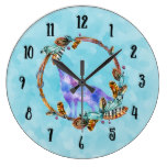 Watercolor Wolf Howling in a Boho Style Wreath Large Clock