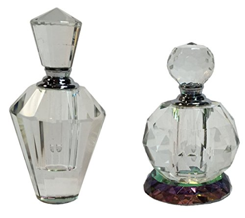Manual Crystal Prism Glass Decorative Empty Perfume Bottles IGGFPB2 3.65″, 3.25″ Set of 2 Clear