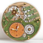 Automaton 1783 celtic emerald green and silver unique vintage wooden wall clock, personalized, housewarming, One-of-a-kind, victorian, gift