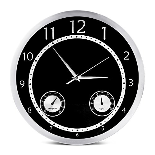 Egundo 12 Inches Silent Wall Clocks Vintage Non Ticking Quartz Temperature & Humidity Metal Large Home Decorative Living Room Garage Digital Analog Clock Battery Operated Black