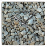 Pebbles on Beach Stone Photography Square Wall Clock