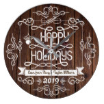 Rustic Wood Happy Holidays Christmas Typography Large Clock
