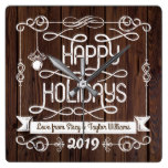 Rustic Wood Happy Holidays Christmas Typography Square Wall Clock