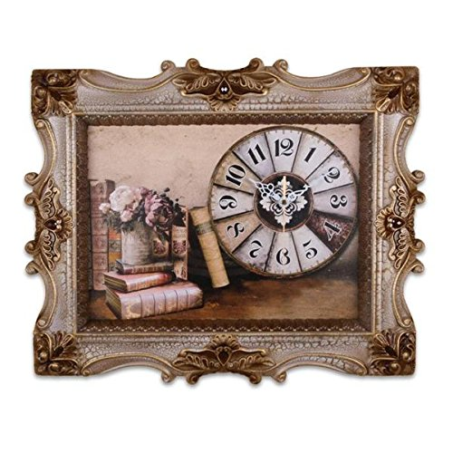 Stunning, Sleek and Elegantly Framed Canvas Wall Clock with Books and Floral Art; Perfect for Just Any Room