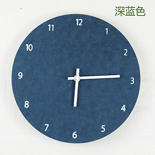 ZEM-PXD Fashion simple clock and clock hanging clocks are selling vintage wooden simple living room watch,Navy Blue