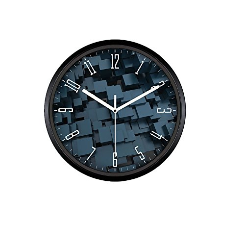 Kinger_Home 12-inch Quartz Silent Metal Frame Wall Clock, Large Fashion Concise Design Home Kitchen/Living Room/ Bedroom Round Ultra Mute Quartz Movement Metal Frame Wall Clock(Clock J) (Black)