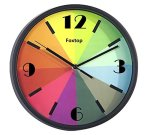 Foxtop 10 inch Modern Colorful Silent Wall Clock Stylish for Easy Reading Non-ticking Wall Clock with Numbers Display,Kids Rainbow Color Clock (Black)