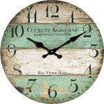 Grazing 12″ Vintage Green and Brown Colorful Stripes Design Rustic Country Tuscan Style ,Arabic Numerals ,Home Decorative Wooden Round Wall Clock (Victor)