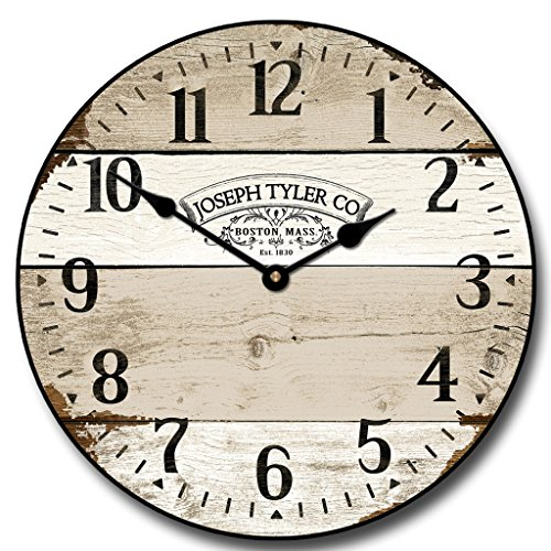 Vintage Barnwood Wall Clock, Available in 8 sizes, Most Sizes Ship 2 – 3 days, Whisper Quiet.