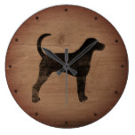 American Foxhound Silhouette Rustic Large Clock