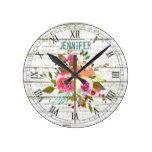 Boho chic floral bouquet watercolors round clock