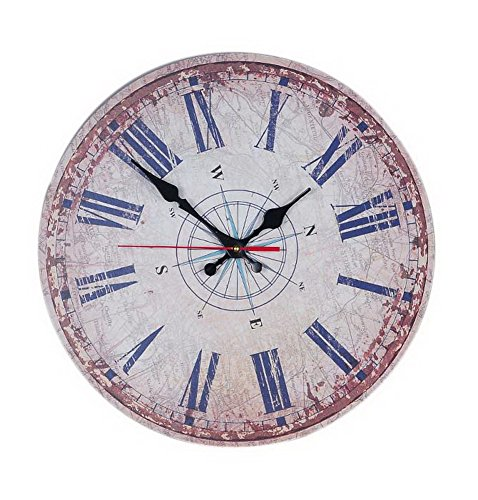 European Home Non Ticking Vintage Rustic Decorative Wood Mute Wall Clock Compass