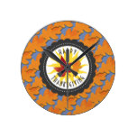 Happy Thanksgiving Fall Oak Leaf Round Clock