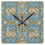 Ochre Beige Teal Blue Eclectic Ethnic Look Square Wall Clock