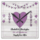 Personalized names Rustic Wedding Purple Square Wall Clock