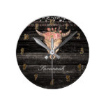 Rustic Wood Floral Cow Skull Horns Floral Boho Round Clock